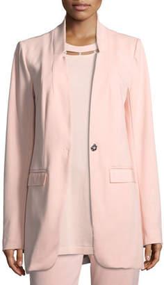 Joan Vass Plus Size Boyfriend Blazer w/ Grosgrain Detail
