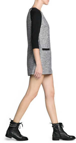 MANGO Bouclé Wool-Blend Dress