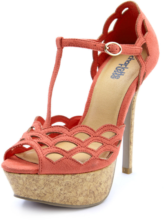 Charlotte Russe Scalloped T-Strap Cork Heel