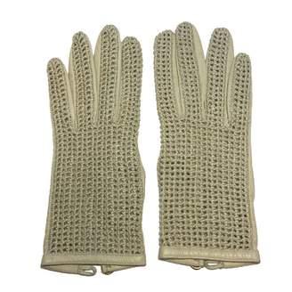 Chanel Vintage Beige Leather Gloves