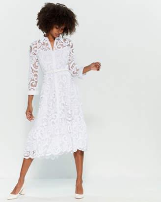Nanette Lepore Nanette Lace Belted Midi Shirtdress