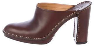 Tod's Leather Round-Toe Mules Brown Leather Round-Toe Mules