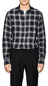 Officine Generale Men's Plaid Linen Shirt - Black
