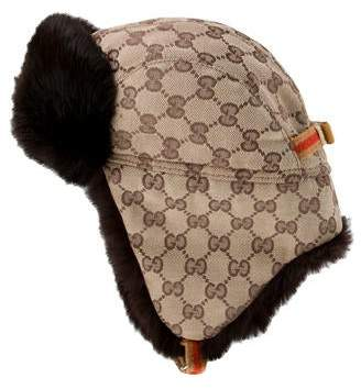 Gucci GG Canvas Mink Trapper Hat