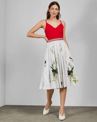 Ted Baker THIMA Tutti Frutti cotton pleated midi-skirt