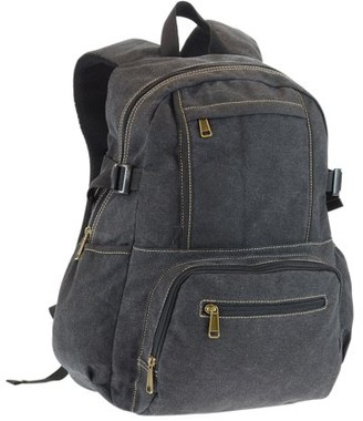 "Montauk Leather Club Canvas Backpack with 15.6"" Laptop Sleeve and 3 Front Zip Pockets"