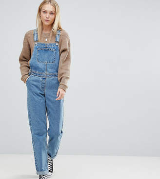 e339449016 Asos Tall DESIGN Tall denim dungaree in midwash blue