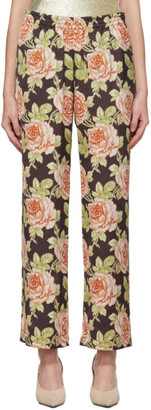 Paco Rabanne Multicolor Satin Roses Trousers