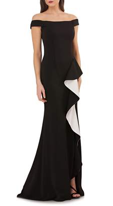 Carmen Marc Valvo Ruffle Off the Shoulder Gown