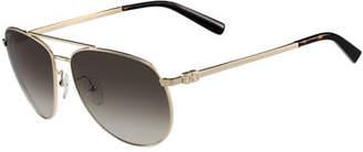 Salvatore Ferragamo Men's Gancio Metal Aviator Sunglasses