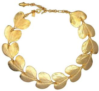 Kenneth Jay Lane 20 Satin Gold Branch And Leaf Necklace