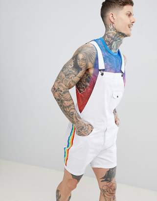 Asos Design DESIGN Slim Dungarees In White With Rainbow Side Stripe