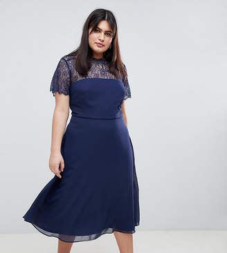 Asos DESIGN Curve lace insert panelled midi dress
