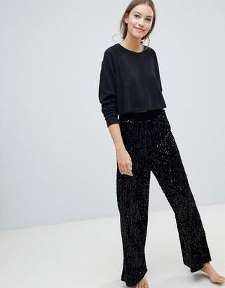 New Look Velvet Sequin PJ Bottoms