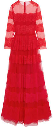 Valentino Paneled Chantilly Lace And Tulle Gown - Red
