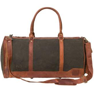 MAHI Leather - Canvas and Leather Columbus Holdall in Forest Green