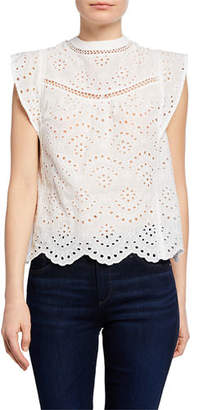 7 For All Mankind Crewneck Sleeveless Eyelet Crop Top