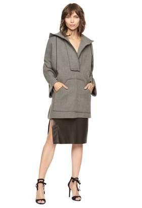 Milly Doubleface Wool Hoodie Coat