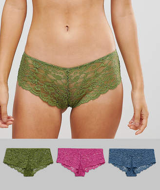 Asos Design 3 Pack Lace French Knickers
