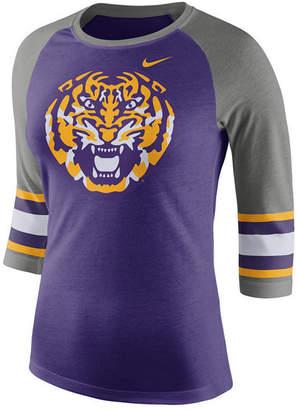 Nike Women Lsu Tigers Team Stripe Logo Raglan T-Shirt