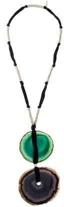 Saint Laurent Agate Disc Pendant Necklace