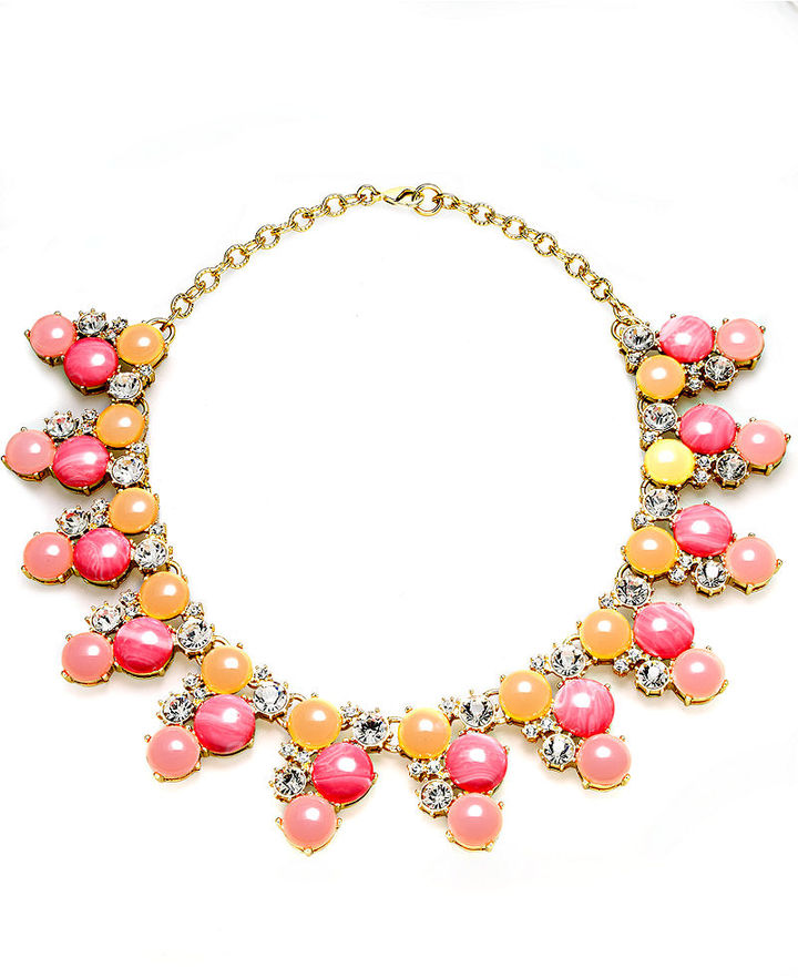 Charter Club Necklace, Gold-Tone Crystal Pink Stone Statement Necklace