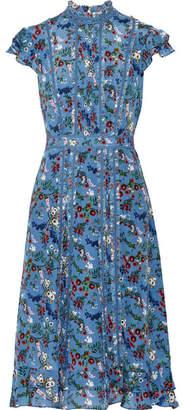 Alice + Olivia Marta Ruffle-trimmed Printed Silk-georgette Dress