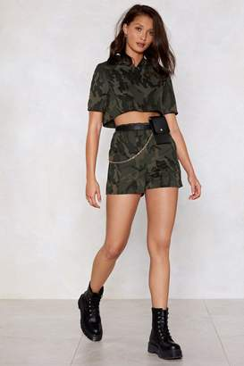 Nasty Gal Hiding From Responsibilities Camo Hoodie and Shorts Set a4fc6952b