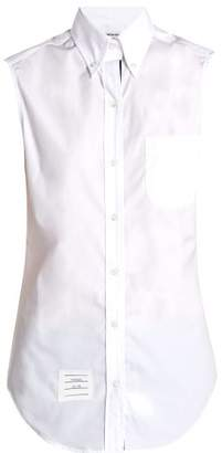 Thom Browne Sleeveless Button Down Collar Cotton Poplin Shirt - Womens - White