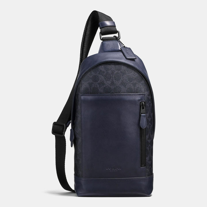 Coach   COACH Coach Manhattan Sling Pack In Signature Coated Canvas