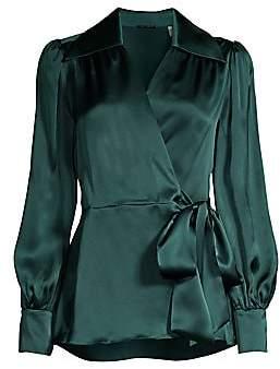 Elie Tahari Women's Shey Silk Wrap Tie Blouse