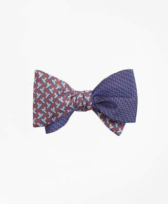 Brooks Brothers Solid-Non-Solid with Snowboarding Pequins Reversible Bow Tie