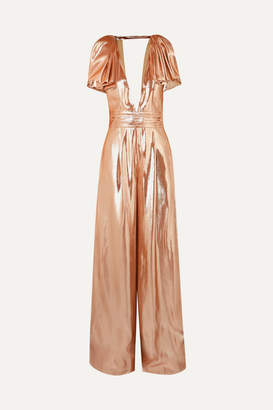 Roland Mouret Mooreland Open-back Silk-blend Lamé Jumpsuit - Copper