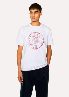 Paul Smith Men's White T-Shirt With Red Ear 'Rabbit Scribble' Print