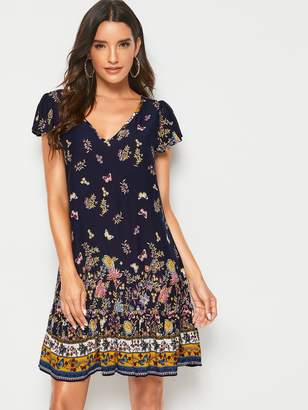 Shein Butterfly & Flower Print Trapeze Dress