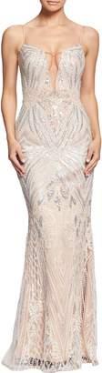 Dress the Population Mara Art Deco Sequin Trumpet Gown