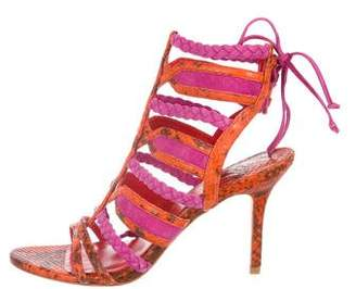 Brian Atwood Suede Embossed Cage Sandals