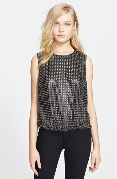 Tamara Mellon Grommet Leather Tank