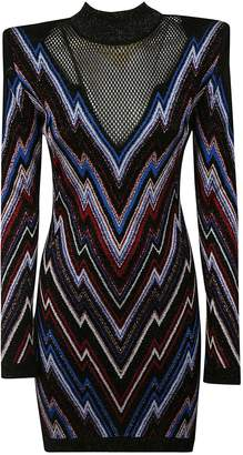 Balmain Chevron Pattern Mini Dress