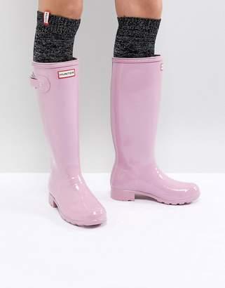 Hunter Tall Pink Gloss Wellington Boots