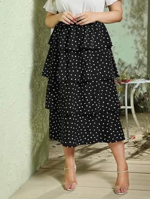 Shein Plus Confetti Print Layered Ruffle Hem Skirt