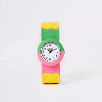 River Island Girls Pink multicoloured snap on watch