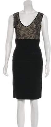 Herve Leger Lace Knee-Length Dress Black Lace Knee-Length Dress