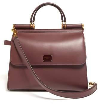 Dolce & Gabbana Sicily Large Leather Bag - Womens - Burgundy Multi