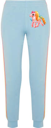 Moschino My Little Pony Appliquéd Cotton-blend Jersey Track Pants - Light blue