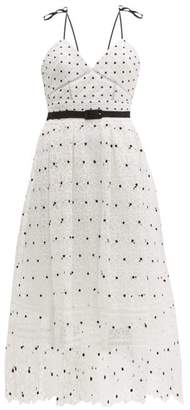 Self-Portrait Self Portrait Polka Dot & Floral Lace Midi Dress - Womens - White