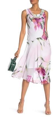 Robbie Bee Cowl Neck Floral Midi Dress