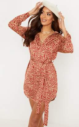 PrettyLittleThing Red Leopard Printed Button Front Shirt Dress