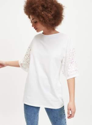 e6d6a3430 Miss Selfridge White Longline Sequin Sleeve T-Shirt