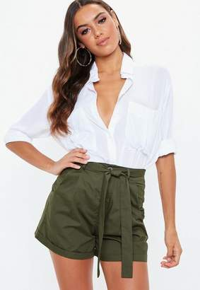 Missguided Khaki Tie Waist Shorts